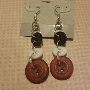 Black, white, and red button dangling earrings